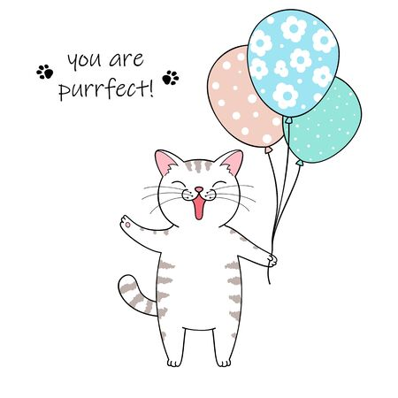 Cute cartoon cat holding a balloons. Hand drawn illustration for birthday greeting card Фото со стока - 129303026