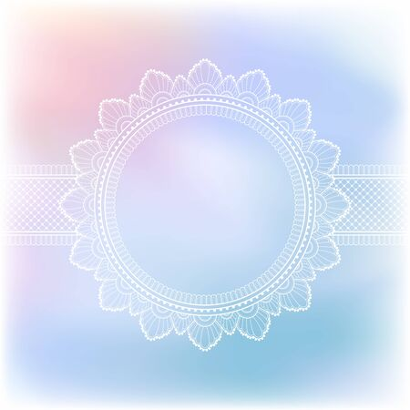 Blurred pastel background with decorative pattern in ethnic oriental style on for greeting card, invitation or announcement