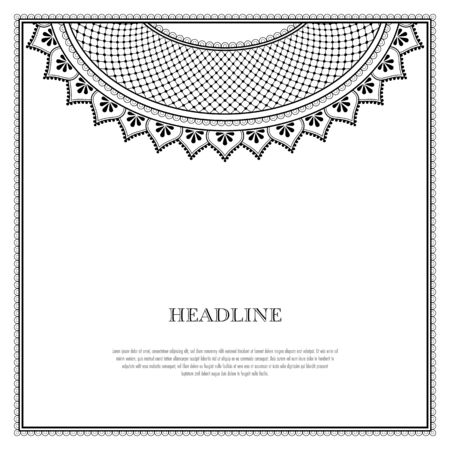 Decorative monochrome pattern in ethnic oriental style for greeting card, invitation, announcement or coloring book page