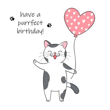 Cute cartoon cat holding a balloon. Hand drawn illustration for birthday greeting card Illustration