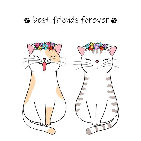 Best friends forever. Couple of cute cartoon cats. Hand drawn illustration Фото со стока - 129303093