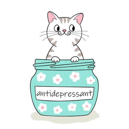 Furry antidepressant. Cute cartoon cat sitting in pill bottle. Hand drawn illustration Фото со стока - 129303106