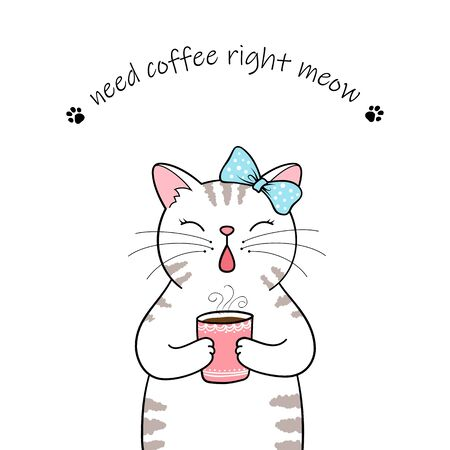 Cute cartoon cat holding a cup of coffee. Hand drawn illustration Фото со стока - 129303124