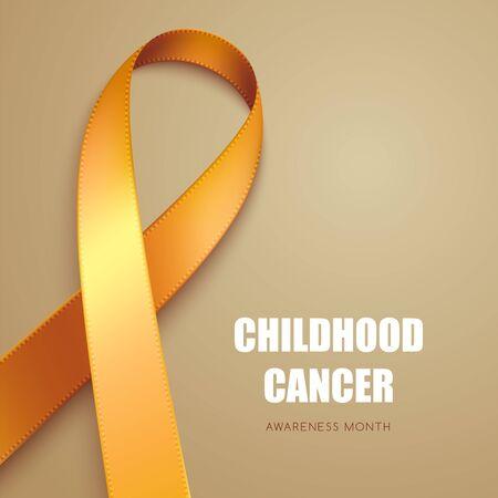 Realistic golden ribbon. Symbol of childhood cancer awareness