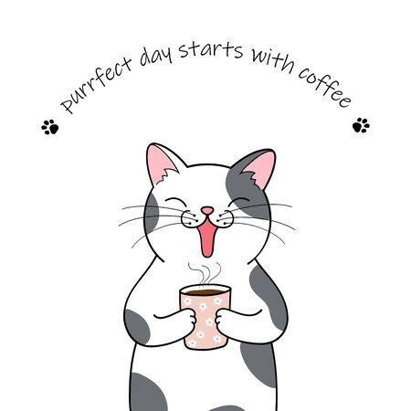 Cute cartoon cat holding a cup of coffee. Hand drawn illustration Фото со стока - 129303145