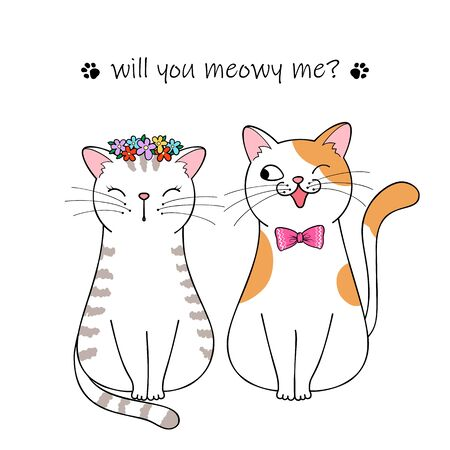 Bride and groom. Couple of cute cartoon cats. Hand drawn illustration Фото со стока - 129303153