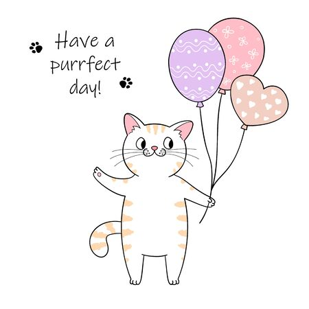 Cute cartoon cat holding a balloons. Hand drawn illustration for birthday greeting card Фото со стока - 129303188