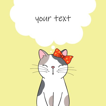 Cute cartoon cat character. Greeting card or invitation template with place for text. Hand drawn illustration