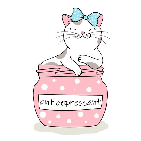 Furry antidepressant. Cute cartoon cat sitting in pill bottle. Hand drawn illustration Фото со стока - 129303226