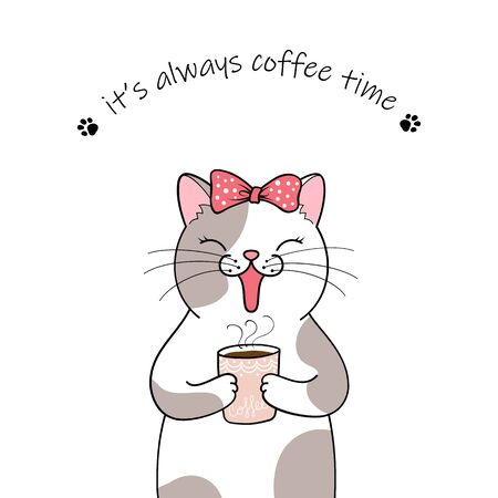 Cute cartoon cat holding a cup of coffee. Hand drawn illustration Фото со стока - 129303232