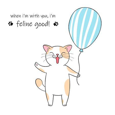 Cute cartoon cat holding a balloon. Hand drawn illustration for birthday greeting card Фото со стока - 129303241