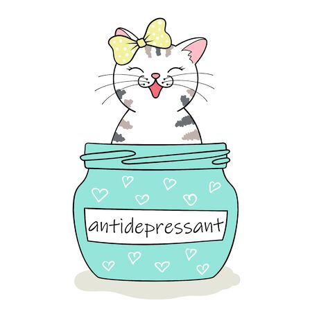 Furry antidepressant. Cute cartoon cat sitting in pill bottle. Hand drawn illustration