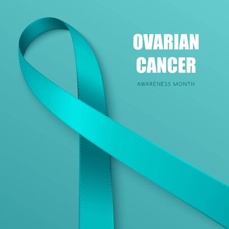 Realistic teal ribbon. Symbol of obsessive-compulsive disorder, ovarian cancer, tourette syndrome awareness