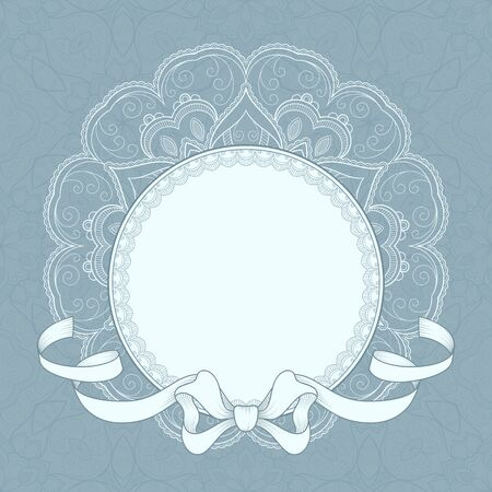 Vintage background with lace frame and ribbon for greeting card, invitation or announcement Vetores