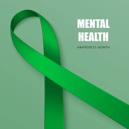 Realistic green ribbon. Symbol of adrenal cancer, glaucoma, mental health awareness