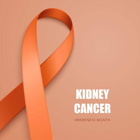 Realistic orange ribbon. Symbol of multiple sclerosis, leukemia, kidney cancer awareness