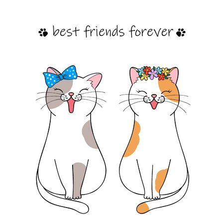 Best friends forever. Couple of cute cartoon cats. Hand drawn illustration