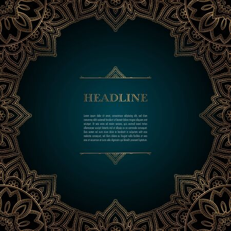 Luxury background with golden ornamental frame for greeting card, invitation or announcement Ilustração
