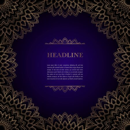 Luxury background with golden ornamental frame for greeting card, invitation or announcement Illusztráció