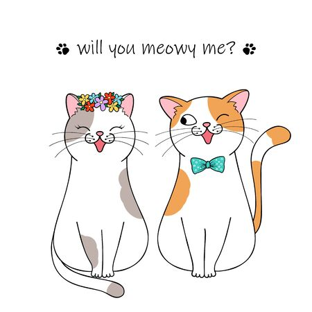 Bride and groom. Couple of cute cartoon cats. Hand drawn illustration