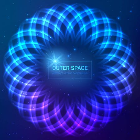Dark blue cosmic background with stars and light effects