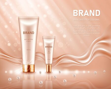 Realistic cosmetic tubes with golden lids on beige background with smooth satin fabric and pearls. Cosmetic brand advertising concept design Ilustração