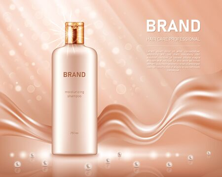 Realistic shampoo bottle with golden lid on beige background with smooth satin fabric and pearls. Cosmetic brand advertising concept design Reklamní fotografie - 129752611