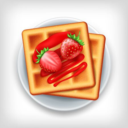 Plate of belgian waffle with strawberries on white background, top view