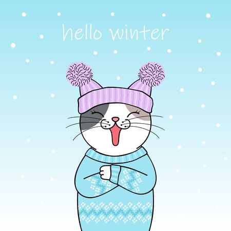 Hello winter. Cute cartoon cat wearing a knitted hat and sweater. Hand drawn illustration Illustration
