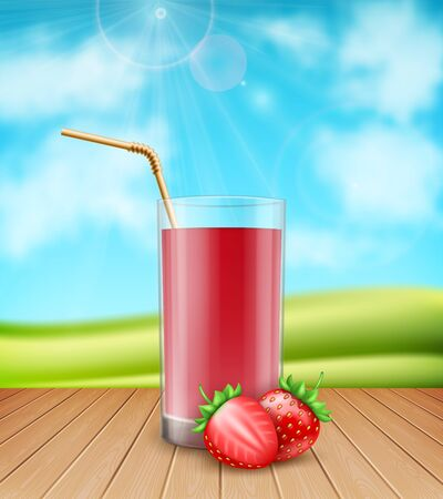 3d realistic glass of strawberry juice with fresh strawberries on nature background Ilustração
