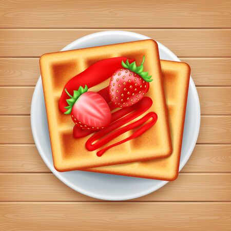 Plate of belgian waffle with strawberries on wood background, top view Иллюстрация