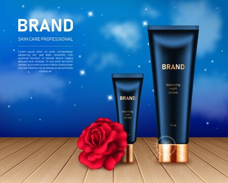 Realistic cream tubes with golden lids and red rose on night sky background with clouds and stars. Cosmetic brand advertising concept design