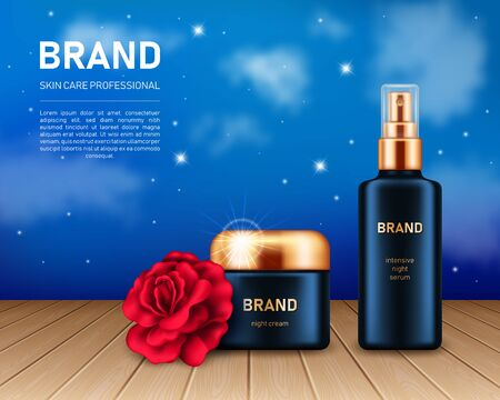Realistic cream jar and spray bottle with red rose on night sky background with clouds and stars. Cosmetic brand advertising concept design