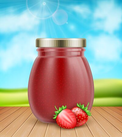 3d realistic strawberry jam jar with fresh strawberries on nature background