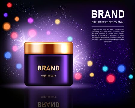 Realistic cream jar with golden lid on dark purple background with bokeh lights. Cosmetic brand advertising concept design  イラスト・ベクター素材