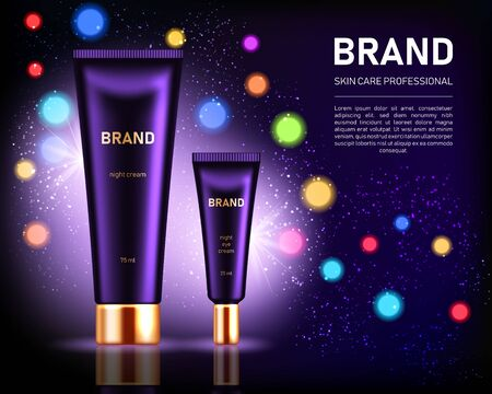 Realistic cosmetic tubes with golden lids on dark purple background with bokeh lights. Cosmetic brand advertising concept design  イラスト・ベクター素材