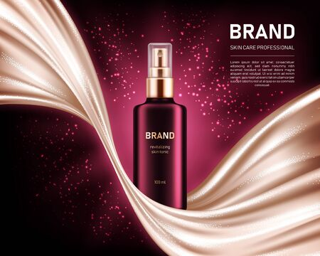 Realistic spray bottle on dark red background with shiny smooth satin fabric. Cosmetic brand advertising concept design