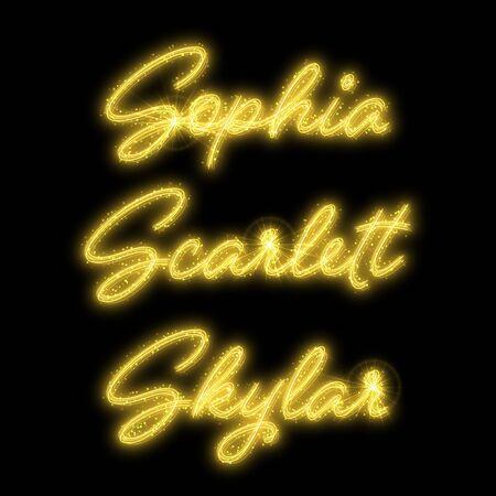 Female names made of sparkler. Design element for birthday card, bridal shower or wedding invitation