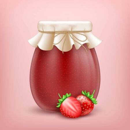 3d realistic strawberry jam jar with paper cover and fresh strawberries on pink background