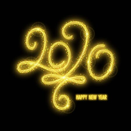 Shiny number 2020 made in sparkling sparklers style on black background. Design element for New year invitation or greeting card