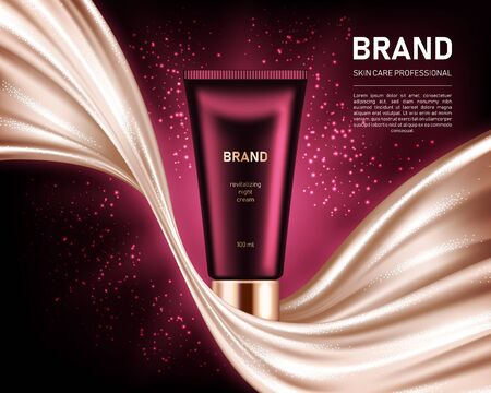 Realistic cream tube on dark red background with shiny smooth satin fabric. Cosmetic brand advertising concept design