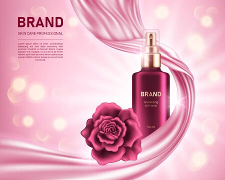 Realistic spray bottle and shiny rose on pink background with smooth satin fabric and bokeh lights. Cosmetic brand advertising concept design