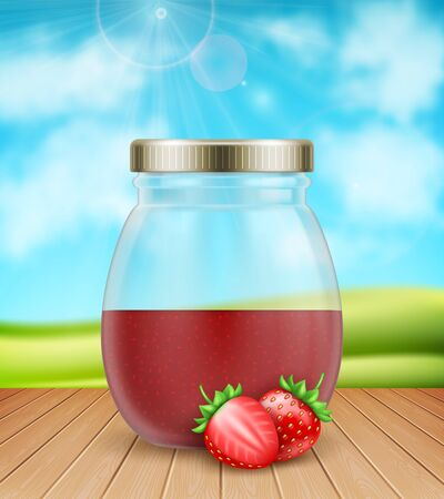 3d realistic half empty strawberry jam jar with fresh strawberries on nature background