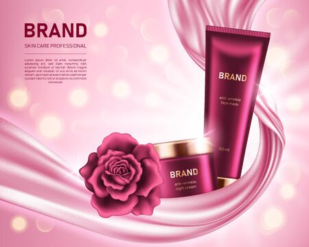 Realistic cream jar and tube with shiny rose on pink background with smooth satin fabric and bokeh lights. Cosmetic brand advertising concept design