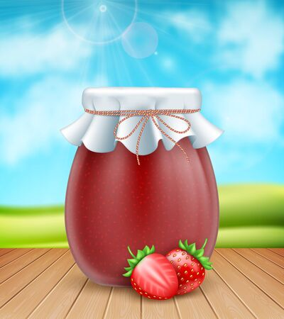 3d realistic strawberry jam jar with paper cover and fresh strawberries on nature background 向量圖像
