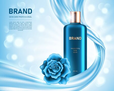 Realistic lotion bottle and shiny rose on light blue background with smooth satin fabric and bokeh lights. Cosmetic brand advertising concept design