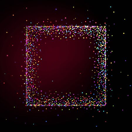 Square frame made of shiny multi-colored particles. Background for greeting card or party invitation