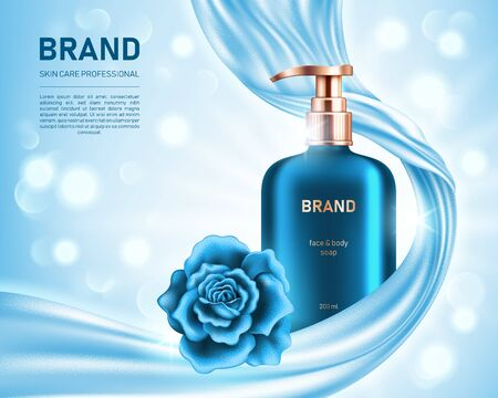Realistic liquid soap bottle and shiny rose on light blue background with smooth satin fabric and bokeh lights. Cosmetic brand advertising concept design