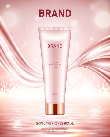 Realistic cream tube with silky smooth fabric on shiny sea background with bokeh lights. Cosmetic brand advertising concept design Çizim