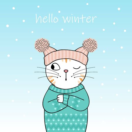 Hello winter. Cute cartoon cat wearing a knitted hat and sweater. Hand drawn illustration Vettoriali